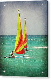 Wind Surfing Acrylic Print by Lorella  Schoales
