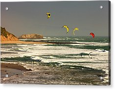 Wind Surfing Santa Cruz Coast Acrylic Print by Tom Norring