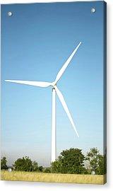 Wind Turbine And Blue Sky Acrylic Print by Jesper Klausen / Science Photo Library