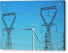 Wind Turbine And Electricity Pylons Acrylic Print by Jim West