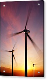 Wind Turbine Blades Spinning At Sunset Acrylic Print by Johan Swanepoel