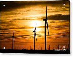 Wind Turbine Farm Picture Indiana Sunrise Acrylic Print by Paul Velgos