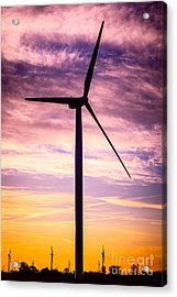 Wind Turbine Picture On Wind Farm In Indiana Acrylic Print by Paul Velgos
