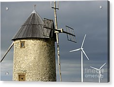 Wind Turbines And Windfarm Acrylic Print by Bernard Jaubert