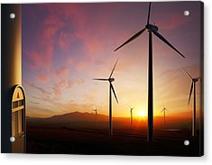 Wind Turbines At Sunset Acrylic Print by Johan Swanepoel