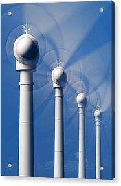 Wind Turbines In Motion From The Front Acrylic Print
