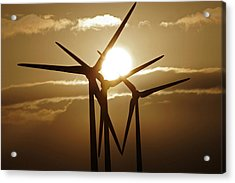 Wind Turbines Silhouette Against A Sunset Acrylic Print
