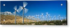 Wind Turbines Spinning In A Field, Palm Acrylic Print