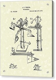 Windmill 1876 Patent Art Acrylic Print