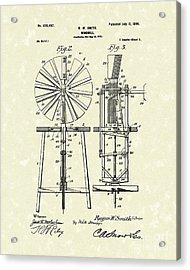 Windmill 1899 Patent Art Acrylic Print by Prior Art Design
