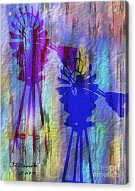Windmill Abstract Painting Acrylic Print by Judy Filarecki