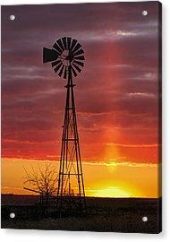 Windmill And Light Pillar Acrylic Print