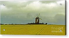Windmill And Rapeseed And Storm Acrylic Print