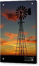 Windmill At Sunset 1 Acrylic Print