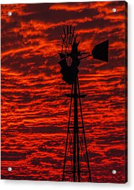 Windmill At Sunset Acrylic Print by Rob Graham