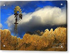 Windmill At The Organ Mountains New Mexico Acrylic Print by Bob Christopher
