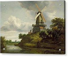 Windmill By A River Acrylic Print by Jacob Isaaksz or Isaacksz van Ruisdael