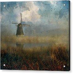 Windmill In Mist Acrylic Print