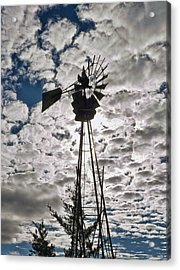 Acrylic Print featuring the digital art Windmill In The Clouds by Cathy Anderson