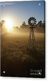 Windmill In The Fog Acrylic Print