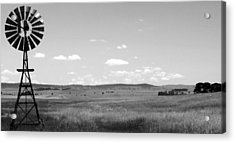 Windmill On The Plains - Black And White Acrylic Print by Justin Woodhouse