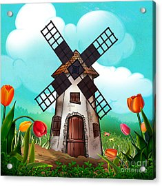 Windmill Path Acrylic Print by Bedros Awak