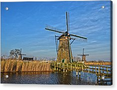 Windmills And Bridge Near Kinderdijk Acrylic Print