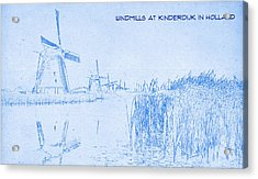 Windmills At Kinderdijk Holland - Blueprint Drawing Acrylic Print by MotionAge Designs