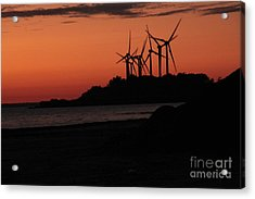Windmills At Sunset Acrylic Print