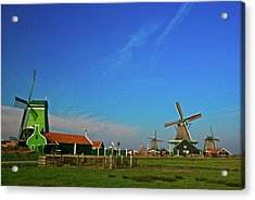 Windmills At Zaanse Schans Acrylic Print by Jonah  Anderson