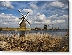 Windmills In Kinderdijk Acrylic Print