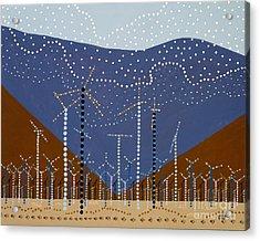Windmills Of The Coachella Valley Acrylic Print by Linda Wolf