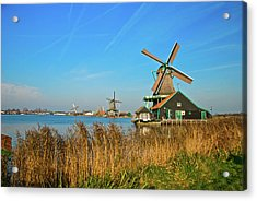 Acrylic Print featuring the photograph Windmills On De Zaan by Jonah  Anderson