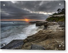 Windnsea Fence Acrylic Print by Peter Tellone