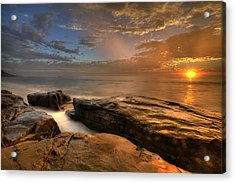 Windnsea Gold Acrylic Print by Peter Tellone