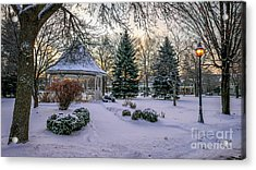 Acrylic Print featuring the photograph Windom Gazebo With Lamp by Kari Yearous