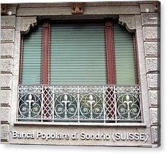 Window Facade Banca Popolare Di Sondrio Suisse Acrylic Print