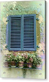 Window In Cortona - Texture Added Acrylic Print by Karen Stephenson