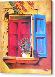 Window On The Rue In Roussillon France Acrylic Print by Susi Franco