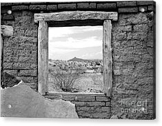 Window Onto Big Bend Desert Southwest Black And White Acrylic Print by Shawn O'Brien