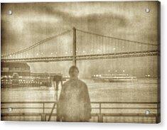 window self-portrait Embarcadero San Francisco Acrylic Print