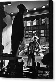 Window Shopping Cowboy Acrylic Print by Photo Researchers