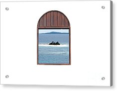 Window View Of Desert Island Puerto Rico Prints Diffuse Glow Acrylic Print by Shawn O'Brien
