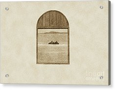 Window View Of Desert Island Puerto Rico Prints Vintage Acrylic Print by Shawn O'Brien