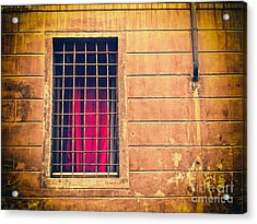 Window With Grate And Red Curtain Acrylic Print by Silvia Ganora