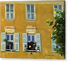Acrylic Print featuring the photograph Windowboxes In Nice France by Allen Sheffield