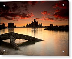 Windsor And Detroit Sunset Acrylic Print by Cale Best