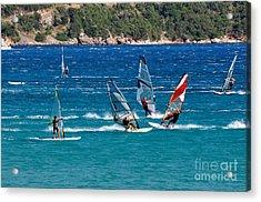 Windsurfing In Vasiliki Bay Acrylic Print by George Atsametakis
