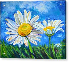 Windswept Daisies Acrylic Print by Lisa Fiedler Jaworski