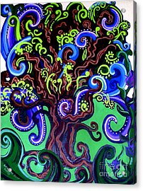 Windy Blue Green Tree Acrylic Print by Genevieve Esson